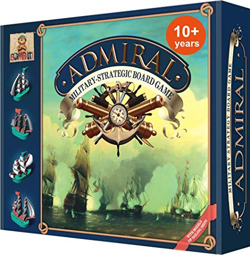Admiral Largest, Most Detailed Strategy Battleship Board Game for Families & Kids 10 and Up. with 24 Sailing Ships. 30min to 2 Hours. Defeat The Enemy, Capture Treasure, Claim Their Fortress (Best Military Strategy Board Games)
