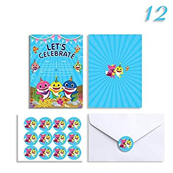 12 Birthday Invitations With Stickers Envelopes Baby Shower Party Invitation Invites Cards For 1st Girls Or Boys For Baby Cute Shark