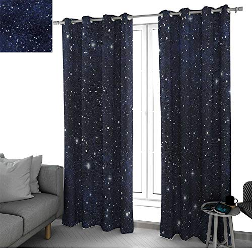 bybyhome Night Living, Dining Room, Bedroom Curtains Star Filled Dark Sky Vivid Celestial Theme Cosmos Galactic Cluster Constellation Room Decor for Boys Dark Blue White W108 x L96 Inch (Fireplace Celestial Screen)