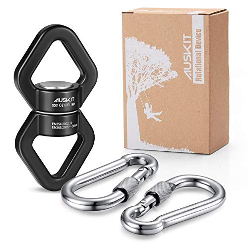 AusKit Swing Swivel, 30 KN Pulley, Safest Rotational Device Hanging Accessory with Carabiners (Black) ()