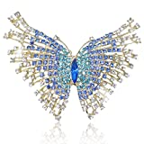 EVER FAITH Women's Austrian Crystal Adorable Butterfly Insect Animal Brooch Blue Gold-Tone