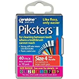 PIKSTERS 0.65 mm Size 4 Red Interdental Brush Pack of 40 by PIKSTERS