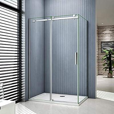 Mampara de ducha esquina, puerta corredera, pared lateral, plato ...
