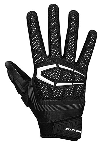 Cutters Glove Receiver Football (Cutters S652 Gamer 3.0 Padded Receiver Glove-Adult: Large-BLACK)
