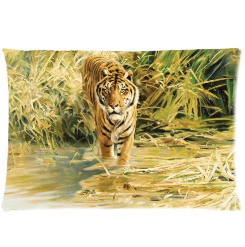 Amxstore Cotton Polyester Decorative Throw Pillow Cover Cushion Case Pillow Case drawing painting - Toss Pillow Decorative Tigers