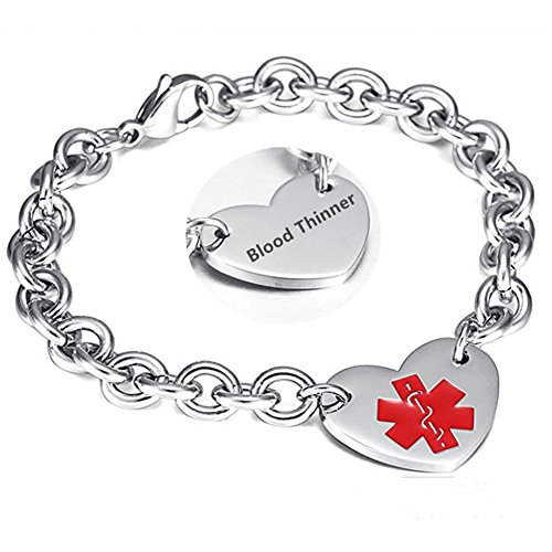LF 316L Stainless Steel Blood Thinner Engraved Medical Alert Heart Charm Link Bracelet Rolo Chain Medic ID Bracelets Monitoring Awareness for Womens for Outdoor Emergency