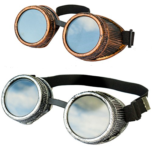 Designed in USA New Real Metal Feel and Look Handcrafted 2pcs Steampunk Victorian Retro Vintage Welding Halloween Goggles Cyber Punk Gothic Glasses  Perfect For Costumes and Cosplay