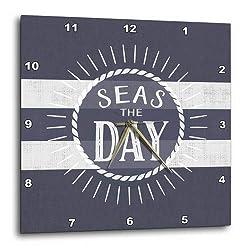 3D Rose Seas The Day Play on Words Nautical Beach Theme Bold Stripes Wall Clock, 15 x 15