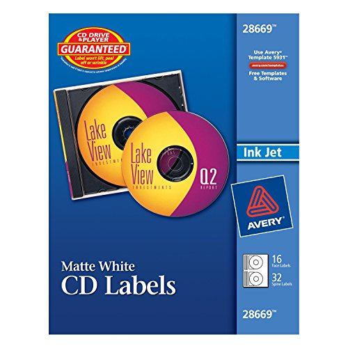 Photo Matte Cd - Avery Matte White CD Labels for Inkjet Printers, 16 Face Labels and 32 Spine Labels (28669)