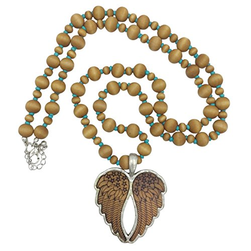 Gypsy Jewels Long Wood Beaded Necklace (Heart Angel Wings Brown & Blue)