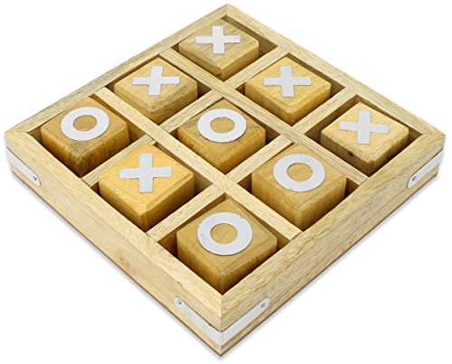 SKAVIJ Tic Tac Toe Game Toy Handmade Wooden Naughts and Crosses Travel Board Game by SKAVIJ