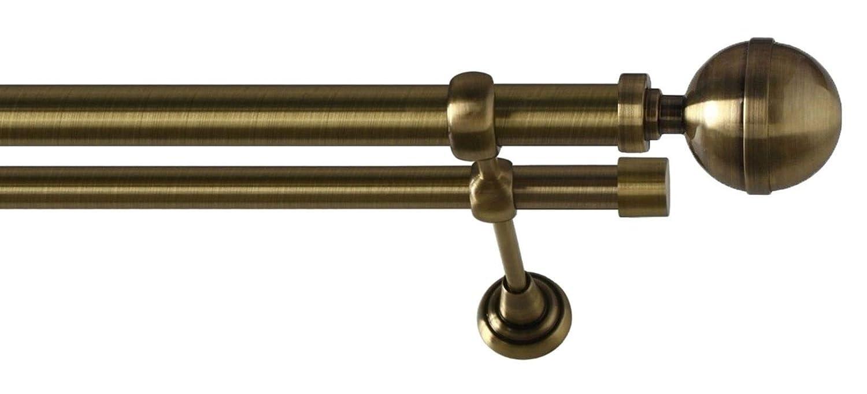 Classic Laiton Antique ALBANA 120 cm 2 Stangen 120cm 25//16mm Kit de Tringle /à Rideau Metal