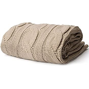 Battilo Soft Knitted Dual Cable Throw Blanket, Khaki