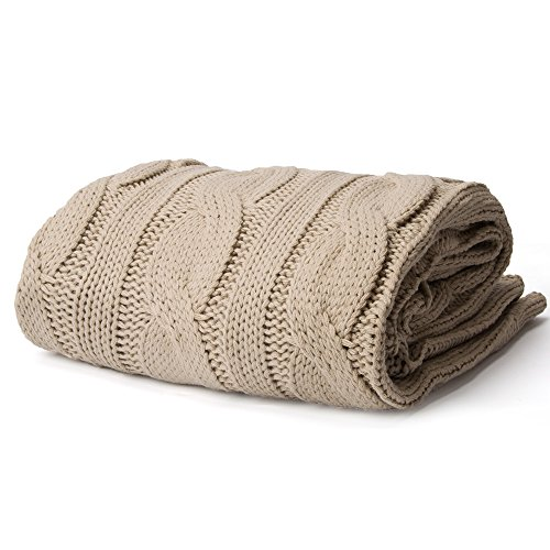 Battilo Soft Knitted Dual Cable Throw Blanket, Khaki ()