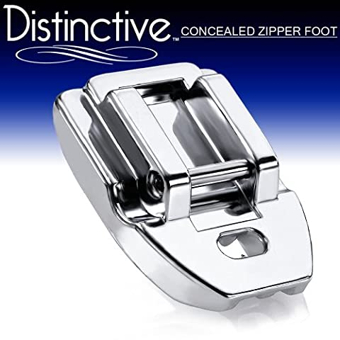 Distinctive Concealed Invisible Zipper Sewing Machine Presser Foot - Fits All Low Shank Snap-On Singer*, Brother, Babylock, Euro-Pro, Janome, Kenmore, White, Juki, New Home, Simplicity, Elna and - Euro Pro Sewing