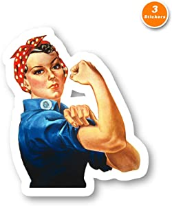 Rosie The Riveter Sticker USA Stickers - 3 Pack - Set of 2.5, 3 and 4 Inch Laptop Stickers - for Laptop, Phone, Water Bottle (3 Pack) S214465