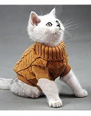 Doggie Style Store Brown Plain Knitted Cat Kitten Pet Jumper Sweater Knitwear – 6 Sizes
