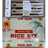 Asian Best Jasmine Rice Bits With FREE Natural Wooden Chopstick By KC Commerce (5lb)
