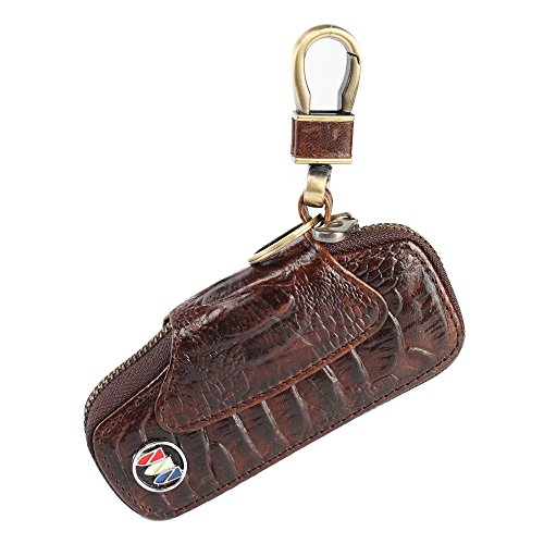 car key chain bag leather Crocodile pattern Auto Remote Key Bronze Metal Hook and Keyring Wallet Zipper Case (buick)