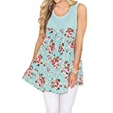 OldSch001® Women Shirt, Women's Casual Floral Printed Sleeeveless O-Neck Tops Blouse (Green, S)