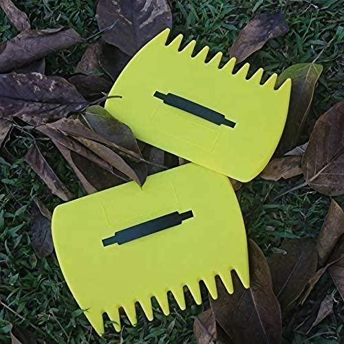 Gaoominy 2Pcs Yellow Large Garden and Yard Leaf Scoops,Plastic Scoop Grass,Hand Leaf Rakes and Leaf Collector for Garden Rubbish Great Tool
