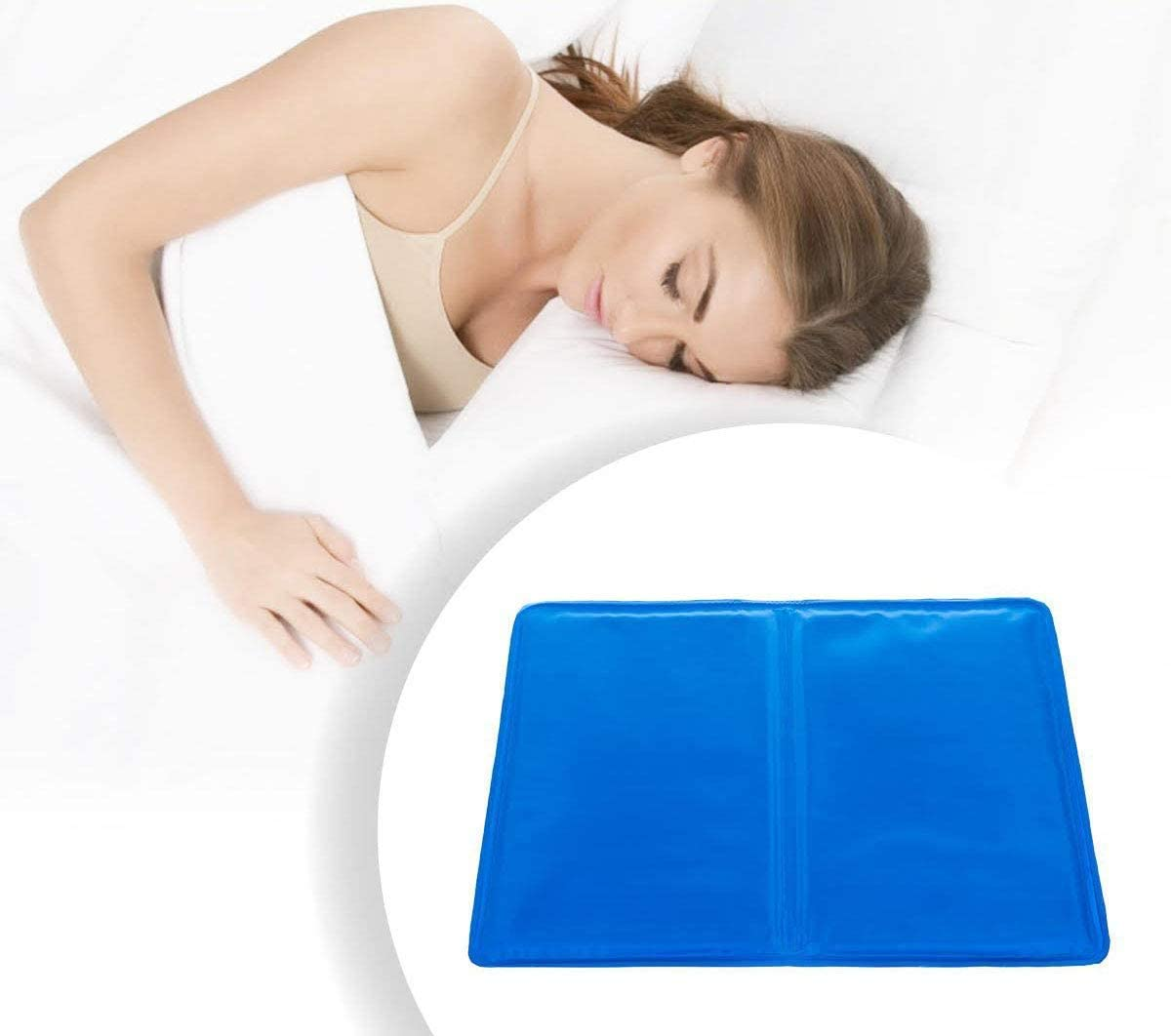 Pad Gel Cooling Pillow Sleep Cool Mat Bed Comfort Natural Chilled Body Topper UK