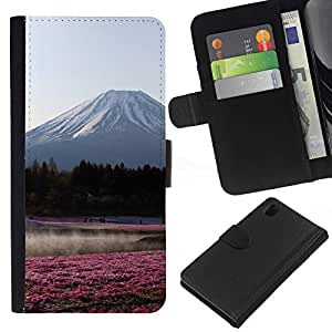 iBinBang / Flip Funda de Cuero Case Cover - View Flowers Field Forest - Sony Xperia Z1 L39H