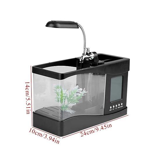 Amazon.com: Aquarium Multifunctional USB Rechargeable Desktop Electronic Aquarium Mini Fish Tank with Water Running Pump Calendar Clock Function Light Pen ...