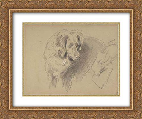 Sir Edwin Henry Landseer - 24x20 Gold Ornate Frame and Double Matted Museum Art Print - Study of a Dog