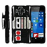 MINITURTLE Case Compatible w/ Lumia 650 Black Case, Microsoft 650, Lumia 650 Case [Armor Reloaded] Rugged Impact Protector + Clip Holster and Stand Heavy Duty Game Controller Retro Review