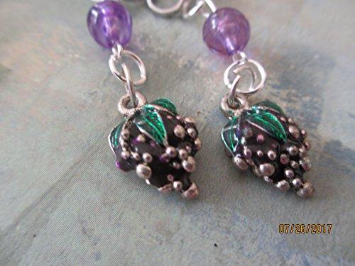 Clip On Enamel Grapes Earrings, Wine Grape Earrings, Wine Jewelry, Friendship Gift