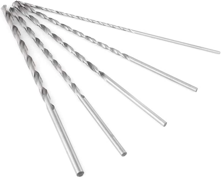 Drill Bit 5pcs 2-5mm Extra Long High Strength Durable Straight Shank Steel Spiral Drill Bit Tool Set for Most Drilling Jobs and Materials