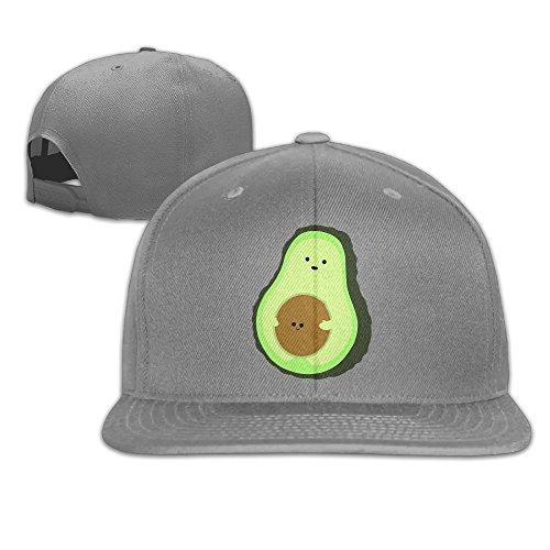 Aiguan Cute Avocado Flat Visor Baseball Cap, Fashion Snapback Hat Ash