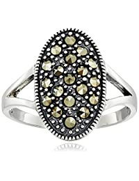 Sterling Silver Marcasite Oval Ring
