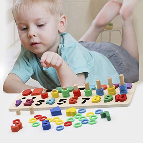 Sendida Kids Wood Sorting Puzzles Toys Shape Sorter Number ...