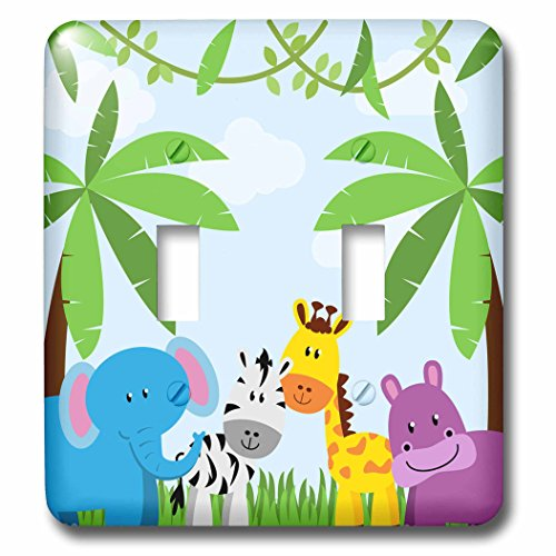 3D Rose LSP_222359_2 Cute Jungle Animals Scene Double Toggle - Animal Switch