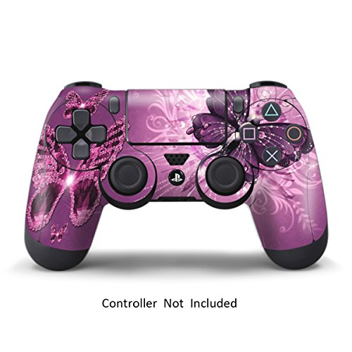 PS4 Controller Skin Stickers - Custom Sony Playstation 4 Remote Vinyl Sticker - Play Station 4 Joystick Decal - Lavender Butterflies by GameXcel ® [ Controller Not Included ]