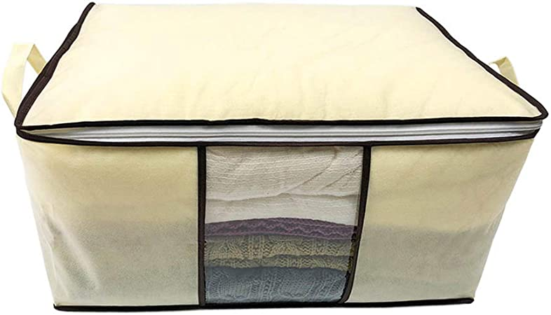Heavy Fabric Space Saver HOUDOU 2 Pack Foldable Storage Bag Organizers Blankets Great for Clothes Closets Large Clear Window /& Carry Handles