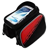 GranVela® Cycling Bike Front Frame Bag Tube Pannier Double Pouch Bicycle Front Tube Cell Phone Bag with Touch Screen Phone Case (6.0 Inches)