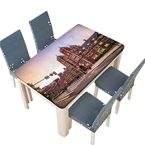 (PINAFORE Decorative Tablecloth Very Old Building in University of Pennsylvania in Philadelphia Pennsylvania Table Cover for Dining Room and Party W53 x L92.5 INCH (Elastic)