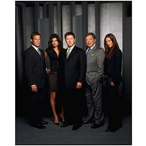 Boston Legal Cast Shot with William Shatner as Denny Crane with James Spader Lake Bell Ready 8 x 10 Photo