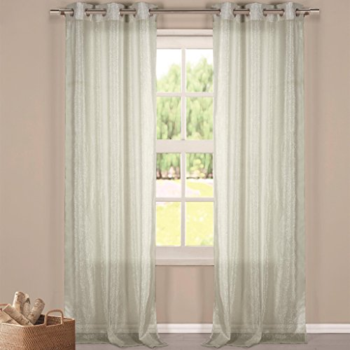 Silk Textured Wallpaper (Metallic Faux Linen Textured Grommet Top Window Curtain Pair Panel Insulated Drapes For Bedroom, Livingroom, Kid, Children, Nursery - Assorted Color - 38 by 84 Inch, Set of 2 Panels - Silver)