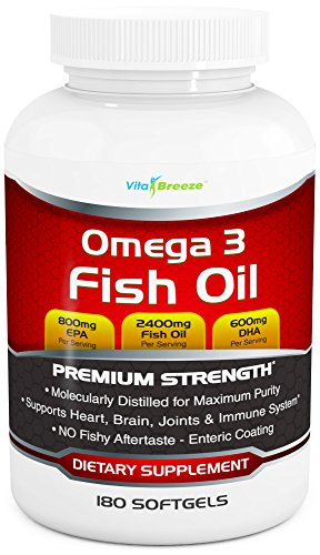 Omega 3 Fish Oil Supplement (180 Softgels) - 2400mg Triple Strength Fish (Distilled Omega 3 Fish Oil)