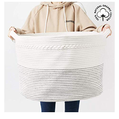 ZIKIMICO Extra Large Cotton Rope Laundry Basket - Woven Storage Hamper - Baby Toys Storage & Blankets Organizers - 21.7