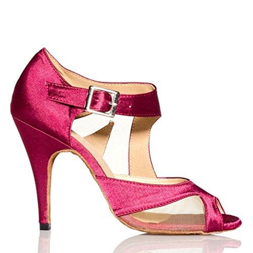 Doris Women's Satin Heels Salsa Tango Modern Ballrom Latin Dance Shoes Sandals Purple QMSNiPII2