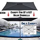 BenefitUSA Top Cover Replacement Umbrella Canopy for 10ft x 6.5 ft 6 Ribs Patio Umbrella Outdoor Market (Canopy Only) (Black)