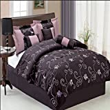 Sheetsnthings 11 PC King Size Covington Purple Bed in a Bag including: Comforter set and a Sheet set.