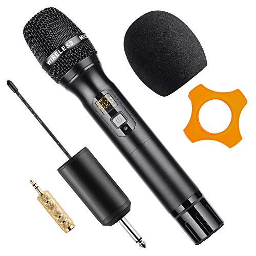 Wireless Microphone, 25 Channel UHF Handheld Cordless Microphone with Rechargable Receiver 1/4 Plug for Karaoke, Meeting, Party, Church and more