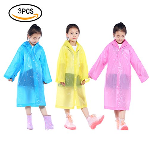 3 Pack Kids Rain Ponchos,Alusbell Children Packable PVC Lightweight Raincoat Snowcoat with Hood and Sleeves,for Theme Parks, Sporting Events, Camping, Traveling, Concerts Or Outdoor Activities