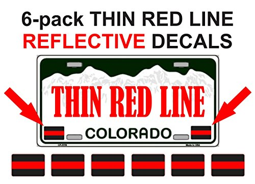 6x REFLECTIVE THIN RED LINE License Plate Decals | Labels | Stickers Firefighter Rescue Fire Paramedic EMT ()